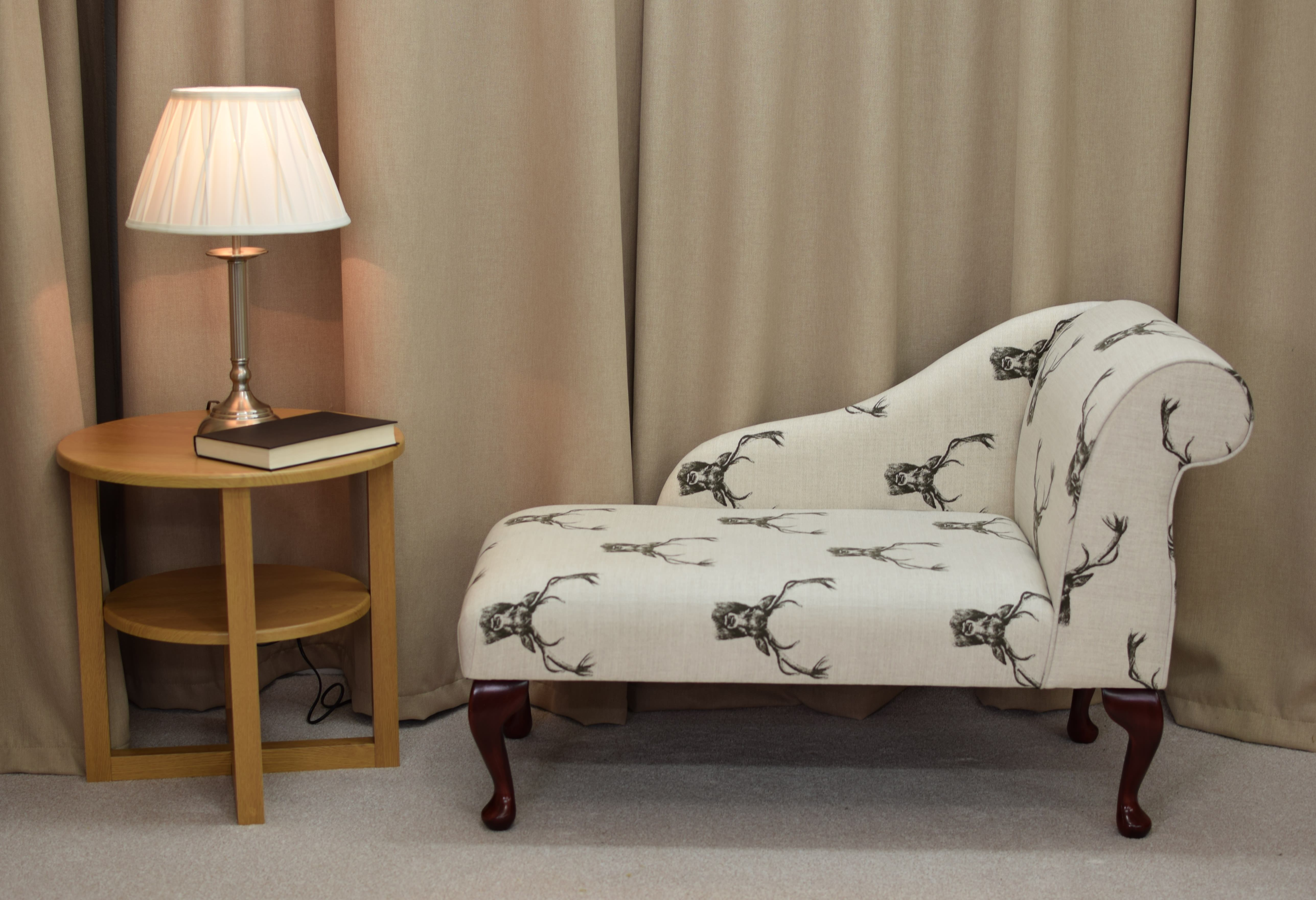 41 small chaise longue chair in a stag cotton print. Black Bedroom Furniture Sets. Home Design Ideas