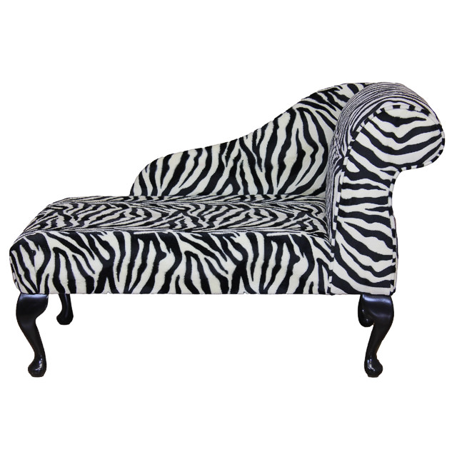 41 mini chaise longue in a zebra print fabric ebay for Animal print chaise