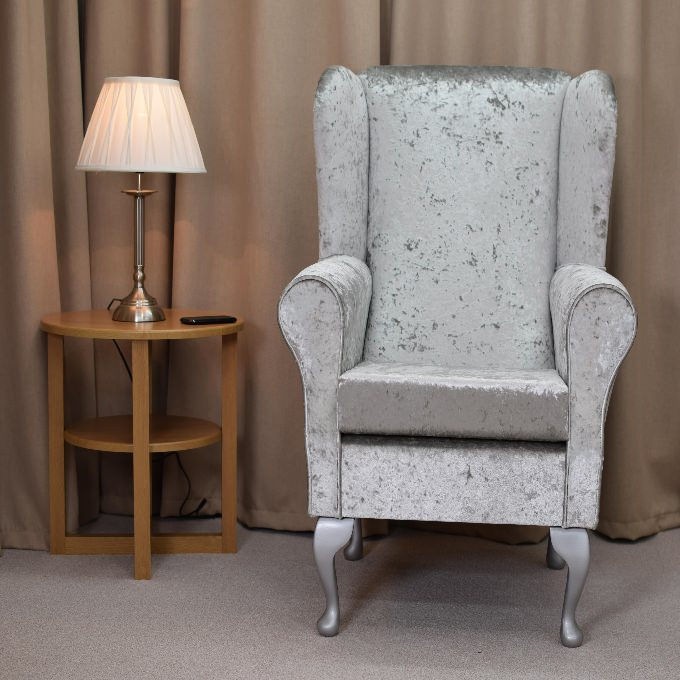 Small Westoe Armchair in a Silver Bling Fabric