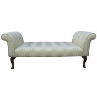 "64"" Deep Settle in a Damask Stripe Sage Fabric"