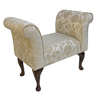 Compact Settle in a Floral Gold Chenille Fabric with Dark Queen Anne Hardwood Legs
