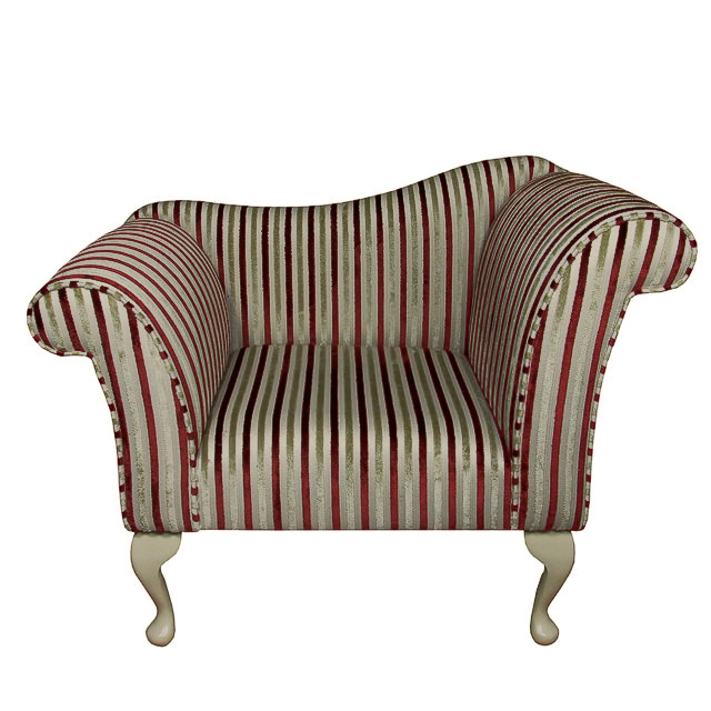 Designer Chaise Chair In A Red Gold Stripe Fabric EBay