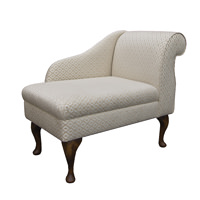 "36"" Compact Chaise in a Trellis Beige fabric with Hardwood Legs"
