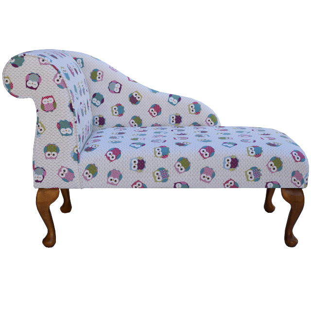 41  Mini Chaise Longue in a Novelty Time Owl Fabric  sc 1 st  Beaumont Furnishings : chaise lon - Sectionals, Sofas & Couches