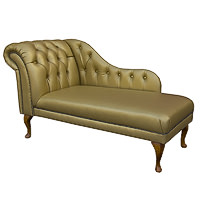 "60"" Deep Buttoned Vele Metallic Gold Leather Chaise Longue - Chesterfield"