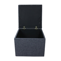 Storage Box/Footstool un a Charcoal Grey Fabric