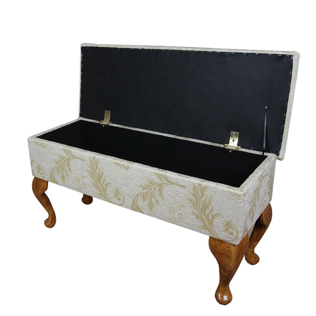 Fabric Dressing Table ~ Large dressing table storage stool in gold leaf fabric ebay