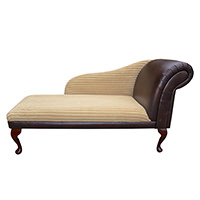 "52"" Classic Style Chaise Longue in a Chestnut Faux Leather & Honey Jumbo Cord Fabric"