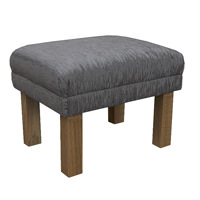 Small Footstool in a Diamante Grey Fabric with Hardwood Legs