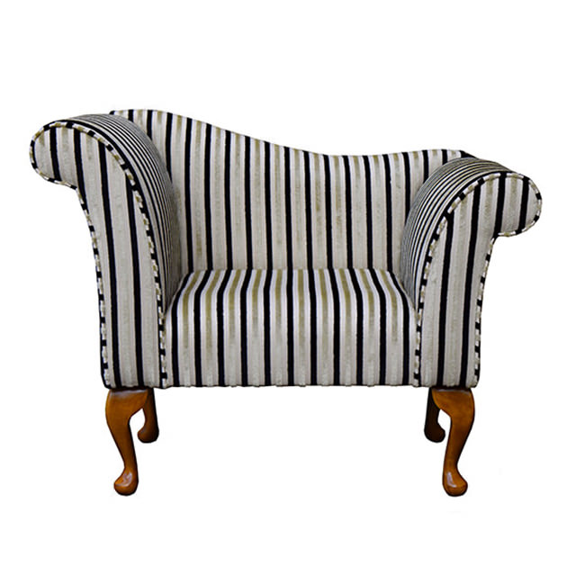 Designer Chaise Chair in a Candy Stripe Ebony & Gold Fabric