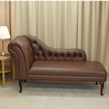 "70"" Buttoned Classic Style Chaise Longue Genuine Brown Leather"