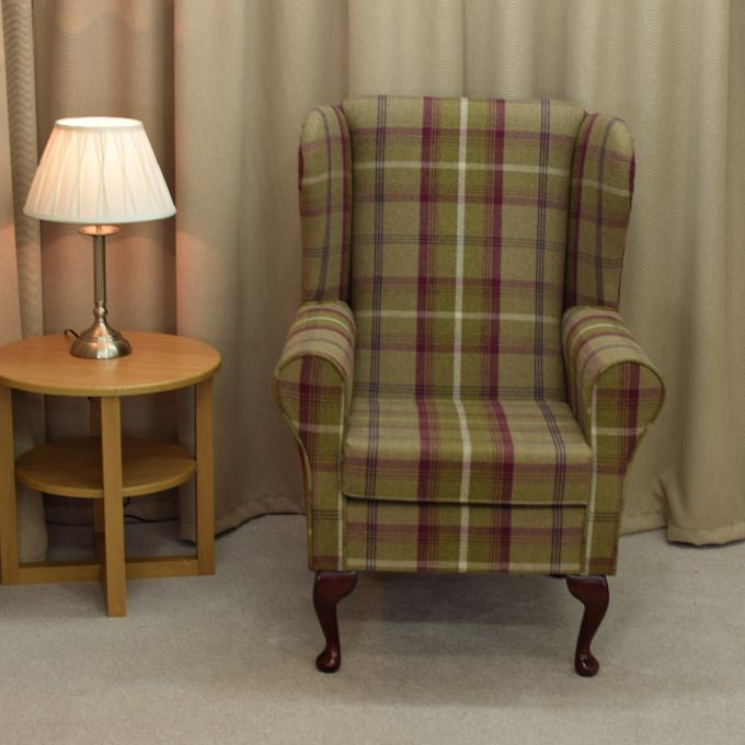 Small Westoe Armchair in a Balmoral Heather Tartan Fabric