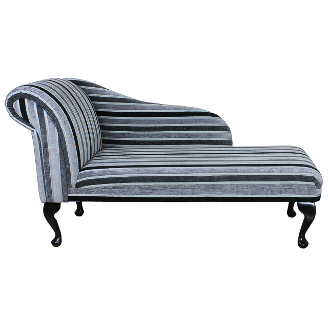Chaise longue chair in a silver black stripe fabric ebay for Black and silver chaise longue