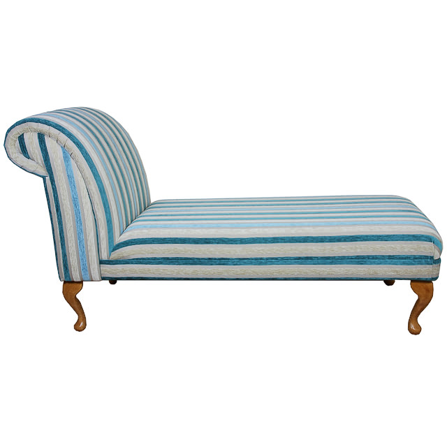 Armless chaise longue chair in a blue stripe fabric ebay for Armless chaise longue