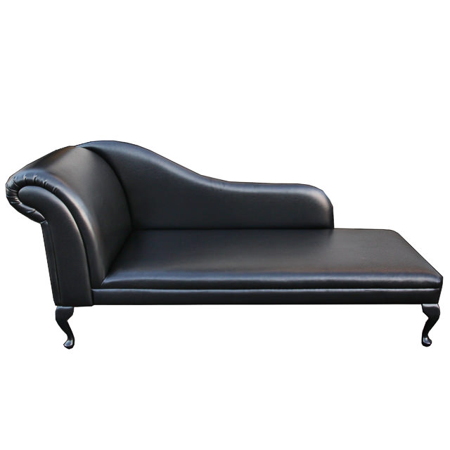 70 gorgeous large chaise longue in a black faux leather for Black leather chaise longue