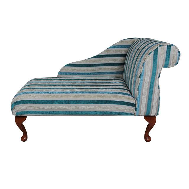Small chaise longue chair in a clio stripe mallard fabric for Dimension chaise longue