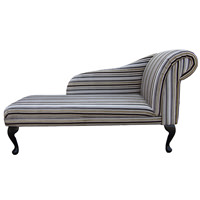 "52"" Classic Style Chaise Longue in a Grey & Brown Riga Stripe Fabric Fabric"