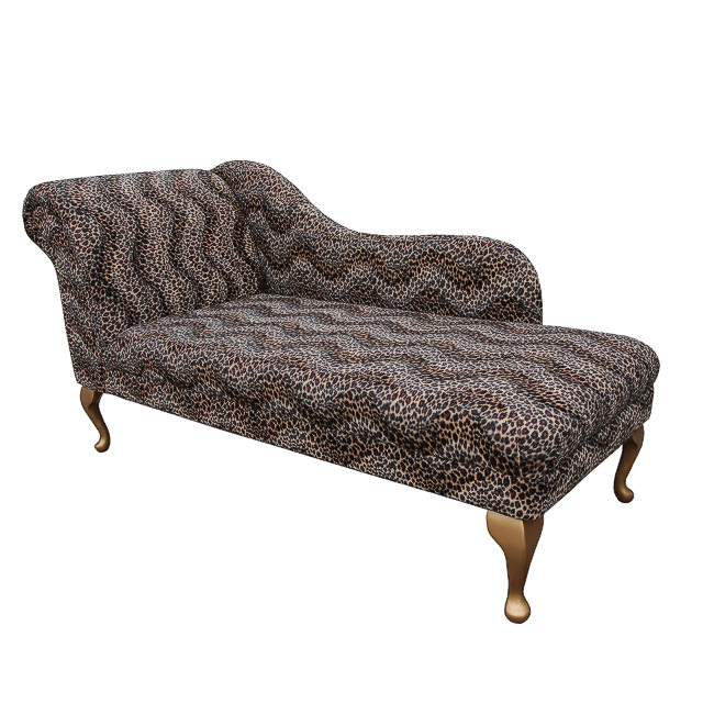 Chaise longue chair in a sand leopard animal print for Animal print chaise lounge furniture