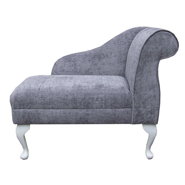 Compact chaise longue chair in a grey silver velluto for Black and silver chaise longue