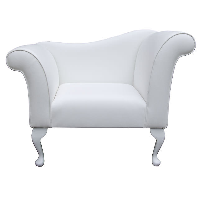 Designer Chaise Chair / Armchair in a White Faux Leather ...