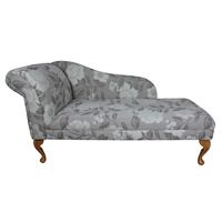 "56"" Classic Style Chaise Longue in a Grey and White Floral Fabric"