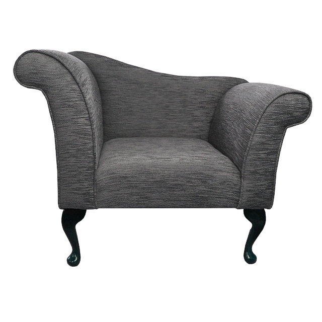 Designer chaise chair armchair in a diamante grey fabric for Chaise diamante
