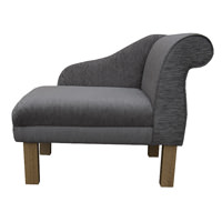 "36"" Compact Chaise in a Diamante Grey fabric with Hardwood Legs"