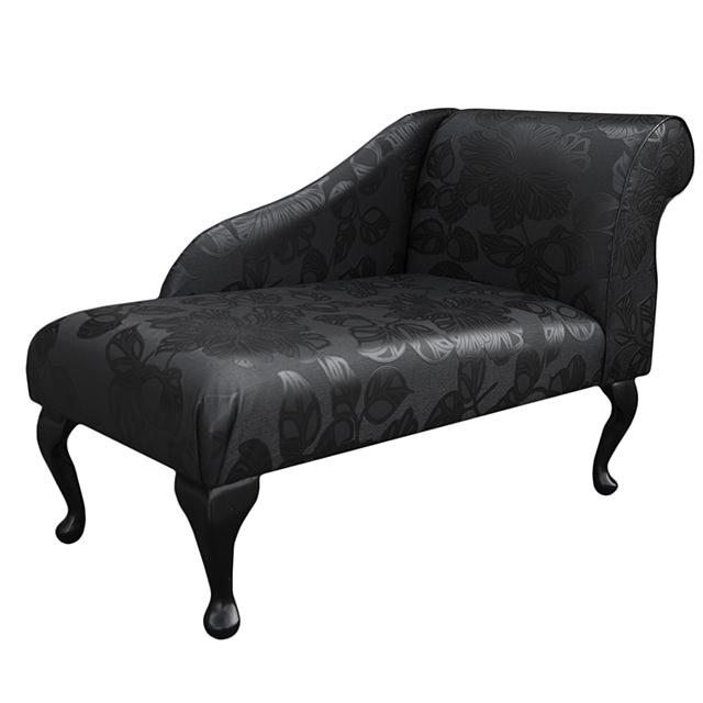 Small chaise longue chair in a floral black noir faux for Dimension chaise longue