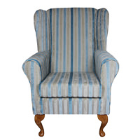 High Back Westoe in a Clio Stripe Wedgewood Fabric