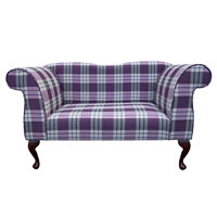 Double Ended Chaise Longue in a Kintyre Grape Tartan Fabric