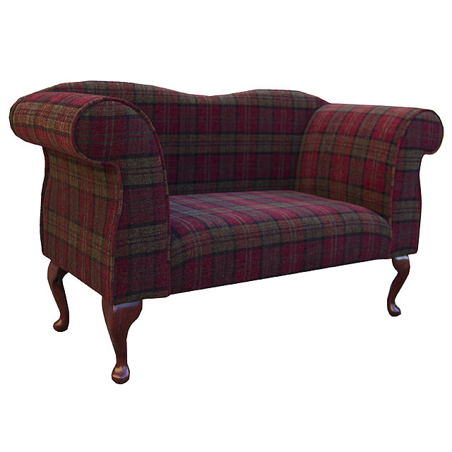 double ended chaise longue chair in a red green lana tartan fabric ebay. Black Bedroom Furniture Sets. Home Design Ideas