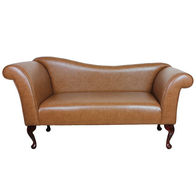 Chaise sofa in a brown faux leather fabric ebay for Brown leather sofa with chaise lounge