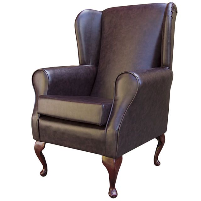 faux leather fabric wing back orthopaedic fireside chair new ebay