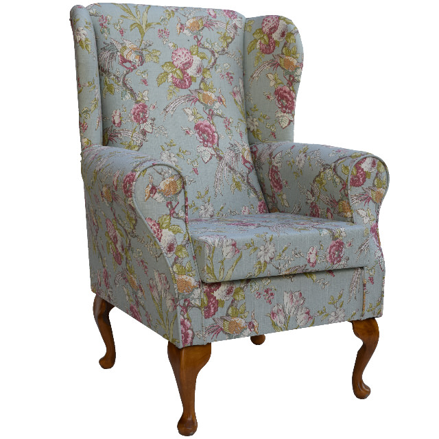 Duck Egg Floral Fabric Wing Back Orthopaedic Fireside  : sw renainsencea from www.ebay.co.uk size 640 x 640 jpeg 202kB