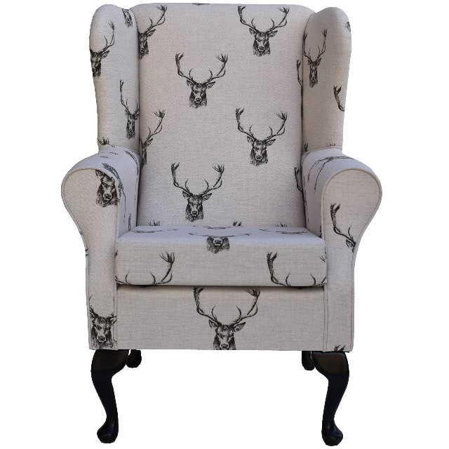 Wingback Fireside Chair In A Designer Stag Print Fabric