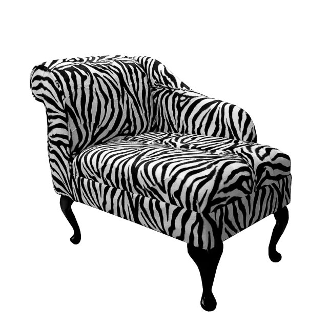 Compact chaise longue chair in a zebra print fabric ebay for Animal print chaise longue