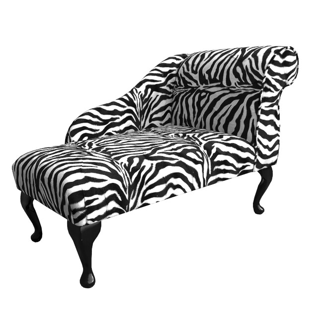 Small chaise longue left facing chair in a zebra print for Animal print chaise