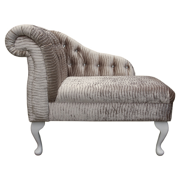 Compact Chaise Longue in a Gold Rippled Fantasia Fabric with ...